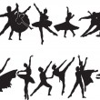 Stock Vector: Ballet silhouette collection