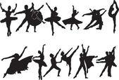 Ballet silhouette collection — Stock Vector