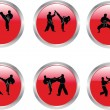 Buttons karate illustration collection — Stock Vector