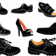 Stock Vector: Footwear collection