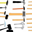 Stock Vector: Hammers in color collection