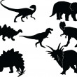 Royalty-Free Stock Vector Image: Dinosaurs silhouette collection
