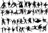 Big collection of ballet dancers — Stock Vector