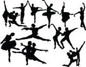 Balet silueta kolekce — Stock vektor