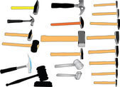 Hammers in color collection — Stock Vector
