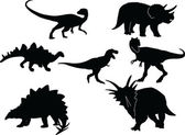 Dinosaurs silhouette collection — Stock Vector