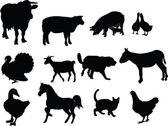 çiftlik hayvan koleksiyonu — Stok Vektör