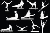 Gymnastics silhouette collection — Stock Vector