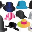 Hats in color collection — Imagens vectoriais em stock