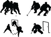Hockey silhouette collection — Vector de stock