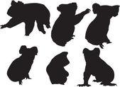 Colección silhouette koala — Vector de stock