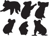 Koala silhouette collection — Vector de stock