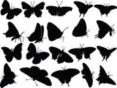 Butterfly silhouette collection — Stock Vector