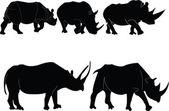 Neushoorn illustratie collectie — Stockvector