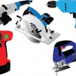 Electric hand tools collection - Stock vektor