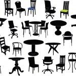 椅子和桌子图 — 图库矢量图片