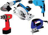 Electric hand tools collection — Stock vektor