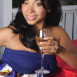 Alexis with Wine Glass — Stock Photo