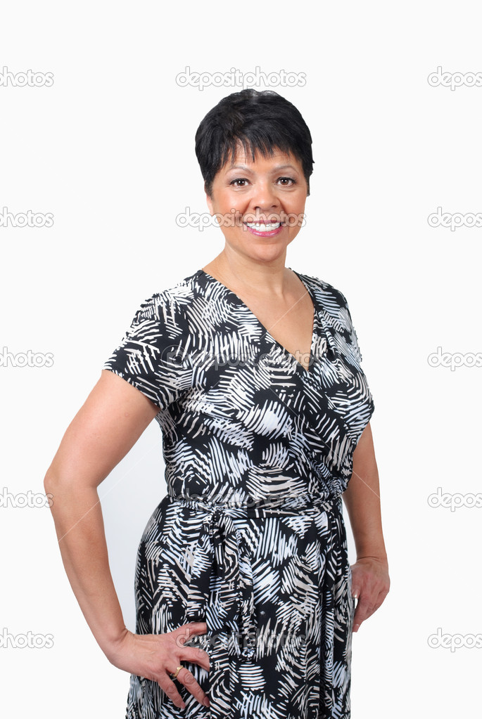Mature woman in black and white dress isolated on white  Stock Photo #2500951