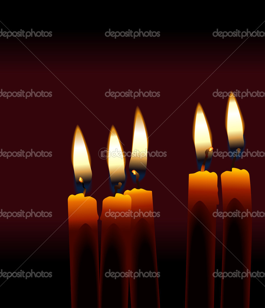 Five Candles isolated against a dark background.  Stock Photo #2375979