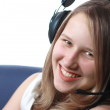 Young smiling Woman in headphones — Stock Photo
