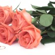 Stock Photo: Roses and wedding rings