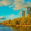 Building on the coast of river in Kiev — Stock Photo