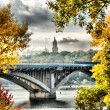Beautiful autumn landscape of Kiev subway bridge — Stock Photo