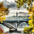 Beautiful autumn landscape of Kiev subway bridge - Stock Photo