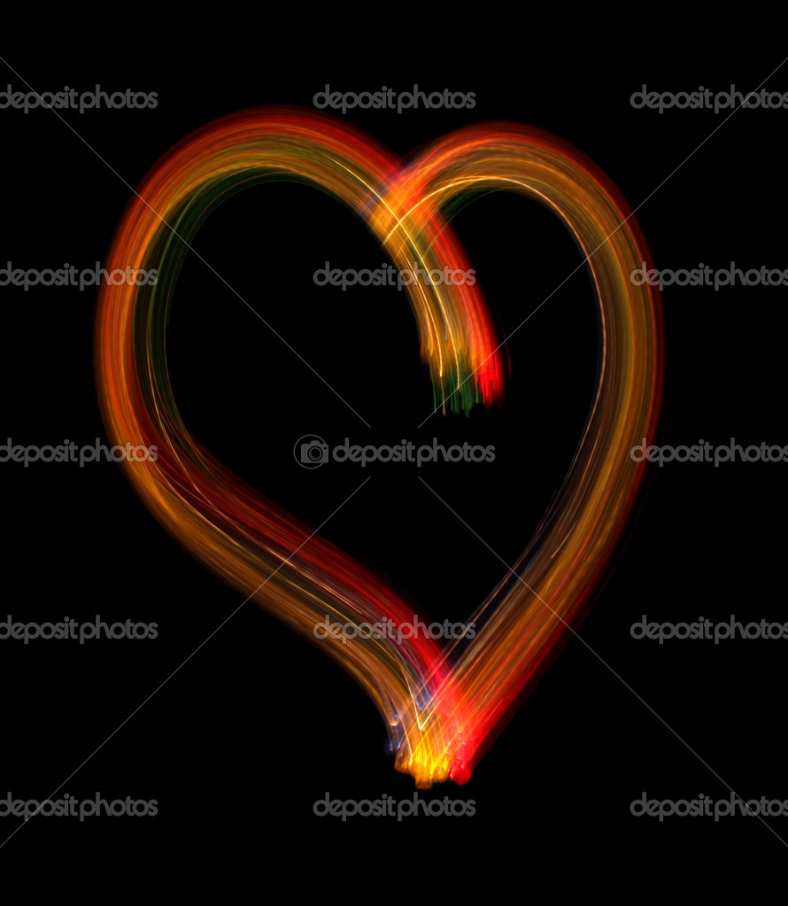 Heart from light on a black background, it is isolated. — Stock Photo #2243357