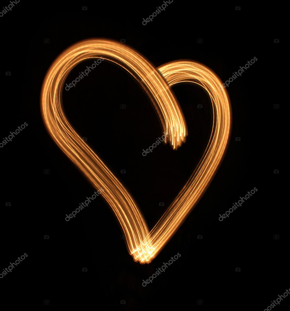 Heart from light on a black background, it is isolated. — Stock Photo #2243370