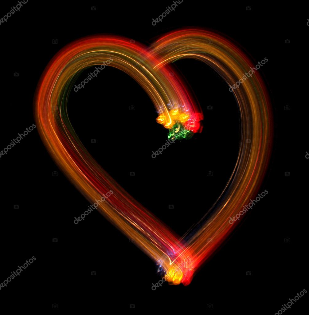 Heart from light on a black background, it is isolated. — Stok fotoğraf #2243596