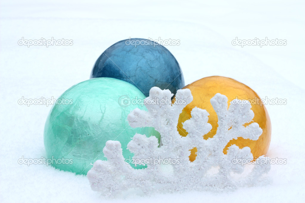 New Year's toys, balls in snow. New year. — Stock Photo #2250464