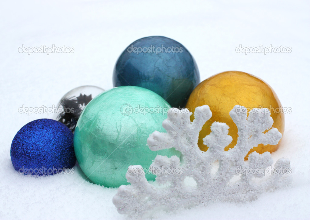 New Year's toys, balls in snow. New year.  Stock Photo #2250507