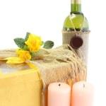 vino, regalo, velas — Foto de Stock