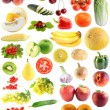 Set fruit, vegetables isolated — Stock Photo