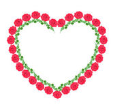Heart from red roses, isolated. — Stock Photo