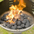 Flames in the grill — Stock Photo