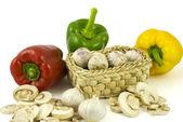 Pepper, garlics and mushrooms — Stock Photo