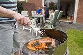 Meat and kebabs on barbecue. — Stock Photo