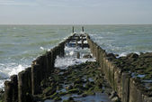 North Sea beach with breakwater — Stock Photo