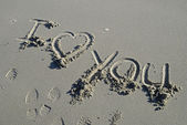 I love you inscription in sand — Stock Photo