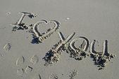 I love you inscription in sand — Stock Photo