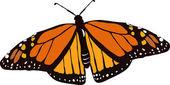 Farfalla monarca in volo — Vettoriale Stock