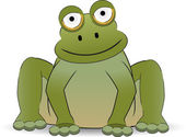 Stylized Cartoon Frog Sitting With A Smi — Stock Vector