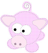 Patchwork Piggy Craft Cartoon Pig Vector — Stock Vector