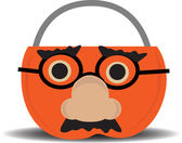 Pumpkin Candy Holder Wearing Disguise — Stock Vector