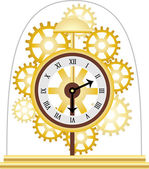Skeleton Clock Golden Multiple Gears — ストックベクタ