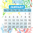 New Years January Calender 2010 - Stock Vector