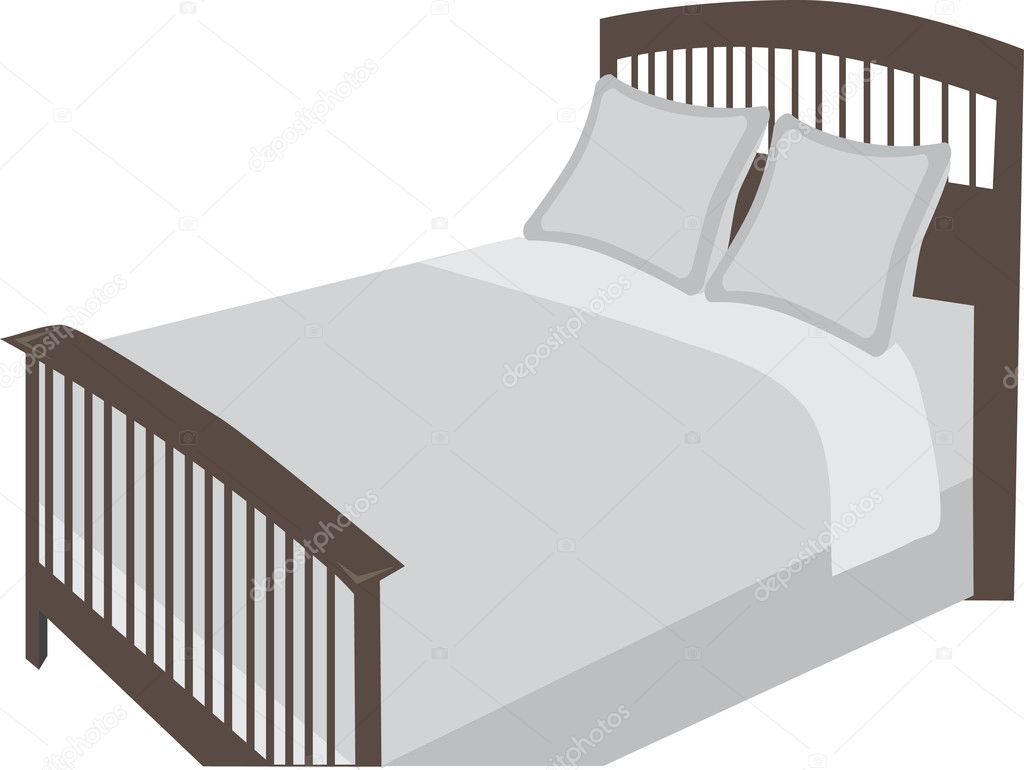 Bed at an angle stylized object — Stock Vector ...